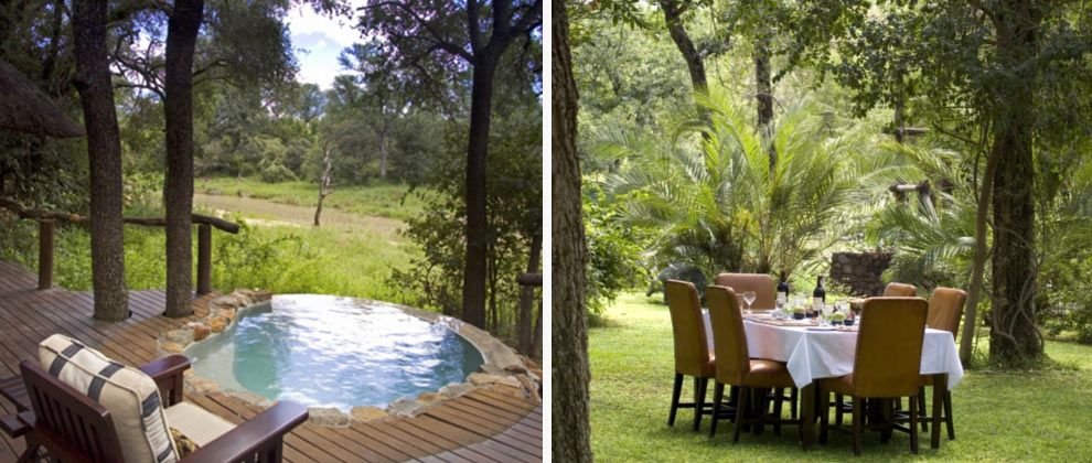 Swimming pool and outside dining at Dulini Lodge