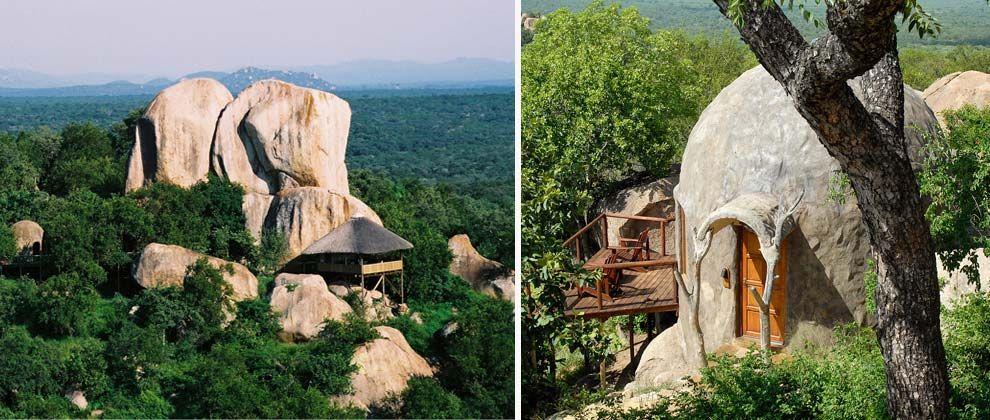 Aerial and exterior view of Manyatta Rock Camp