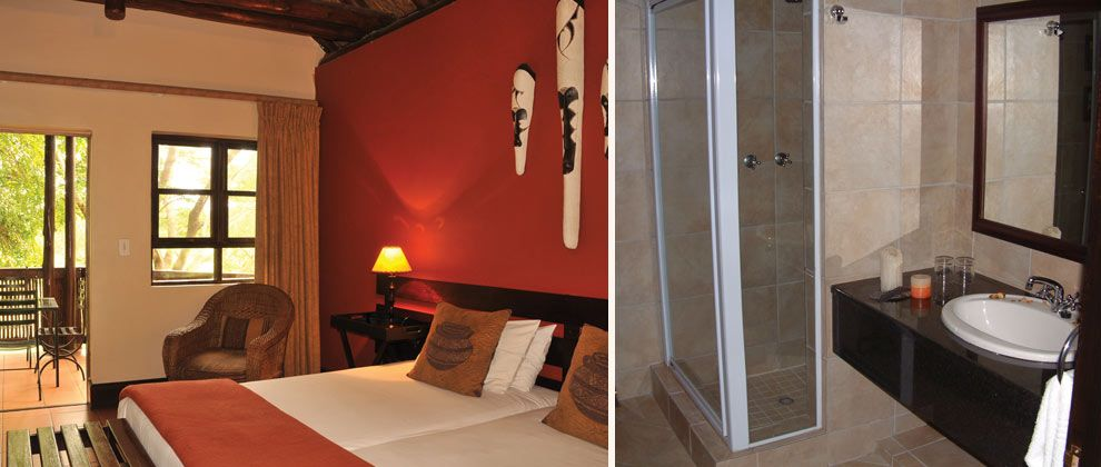 Bedroom and bathroom at Pestana Kruger Lodge