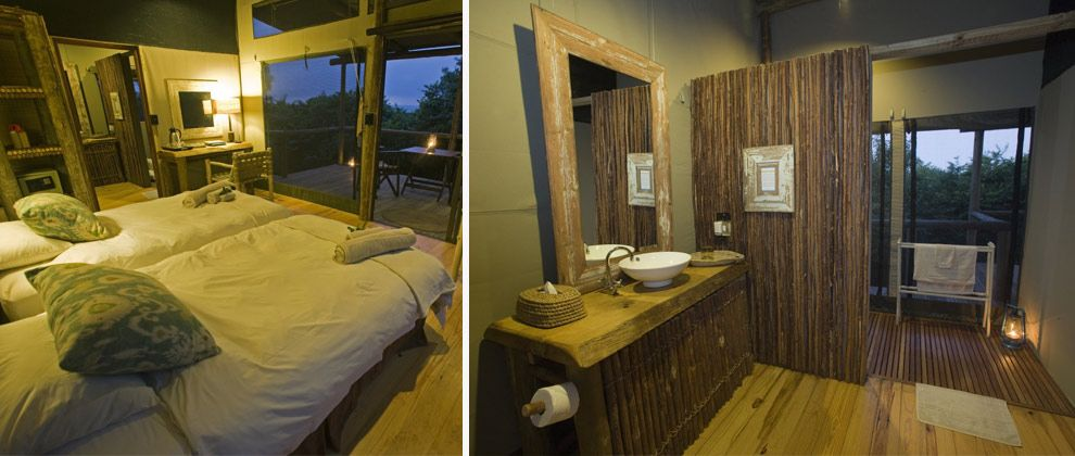 Bedroom and bathroom at Rocktail Beach camp