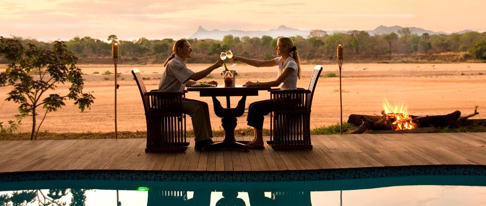 Dinner with a view at Lugenda Wilderness Camp