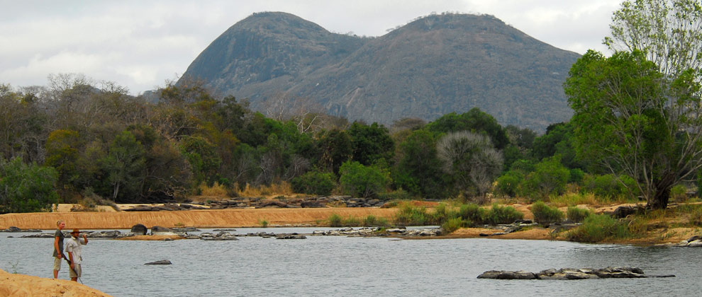 View across river at Lugenda Wilderness Camp