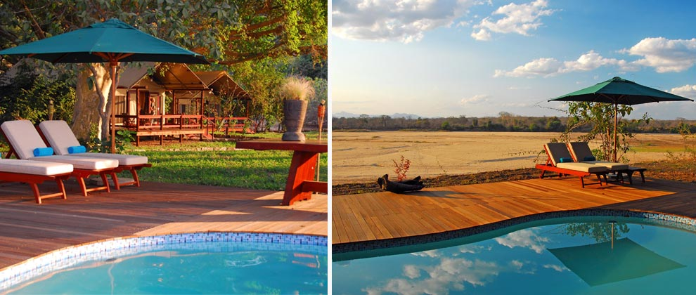 Swimming pool area at Lugenda Wilderness Camp