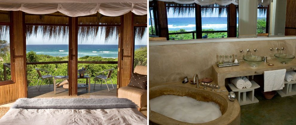 Bedroom and bathroom at Thonga Beach lodge