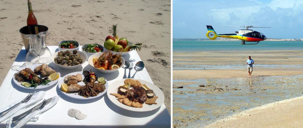 Beach picnics, and helicopter transfers at Azura Benguerra