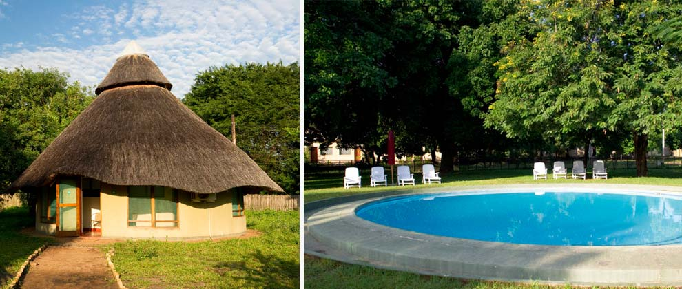 Swimming pool and cabin at Chitengo Camp