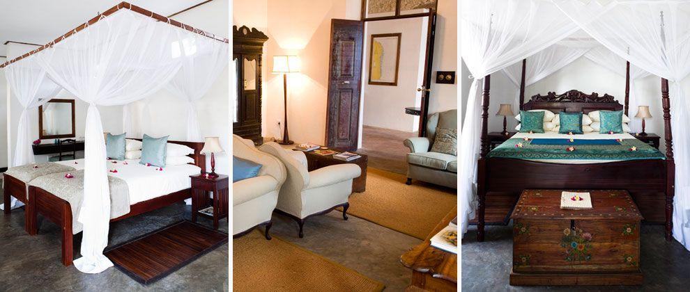 Bedrooms at Ibo Island Lodge