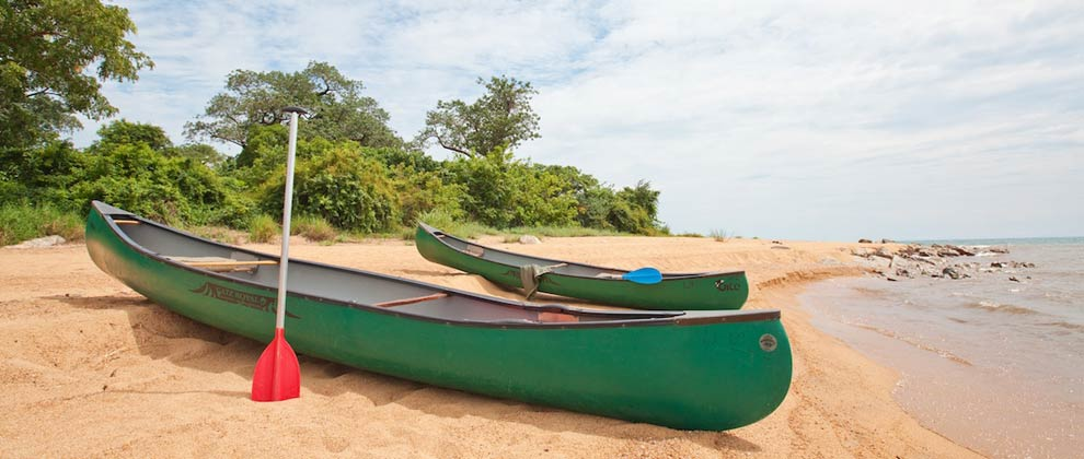 Indian canoes on the beach at Lake Niassa