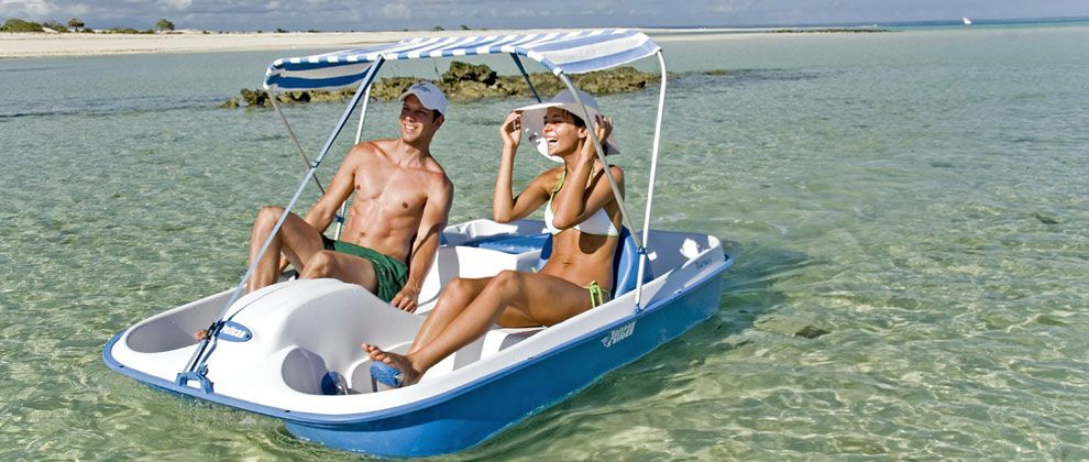 Peddle boat at Medjumbe Private Island