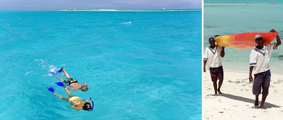 Snorkelling and kayaking at Medjumbe Private Island