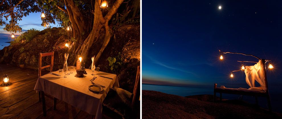 Romantic dinner setting at Nkwichi Lodge