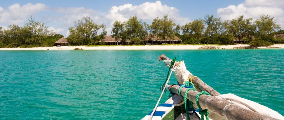 View of Vamizi Island Lodge from dhow sailing boat
