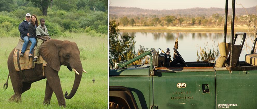 Elephant and vehicle safaris at Victoria Falls