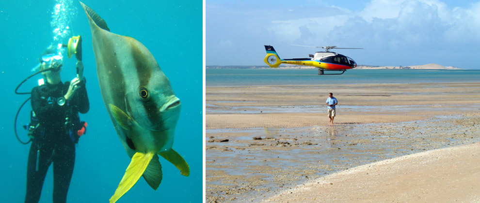 Diving and helicopter transfers at Azura on Benguerra