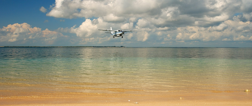 Light aircraft transfer coming in to land