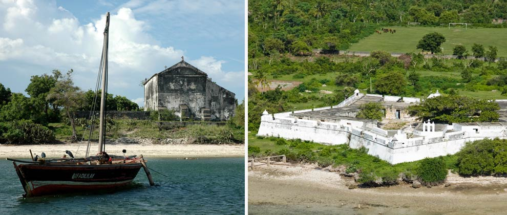 View of the old cathedral at Ibo Island