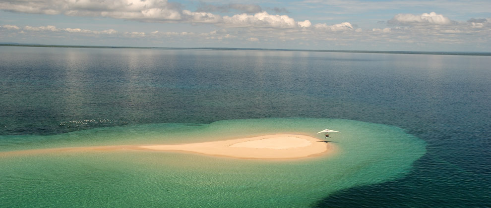 Aerial view of a small island in the Quirimbas Archipelago