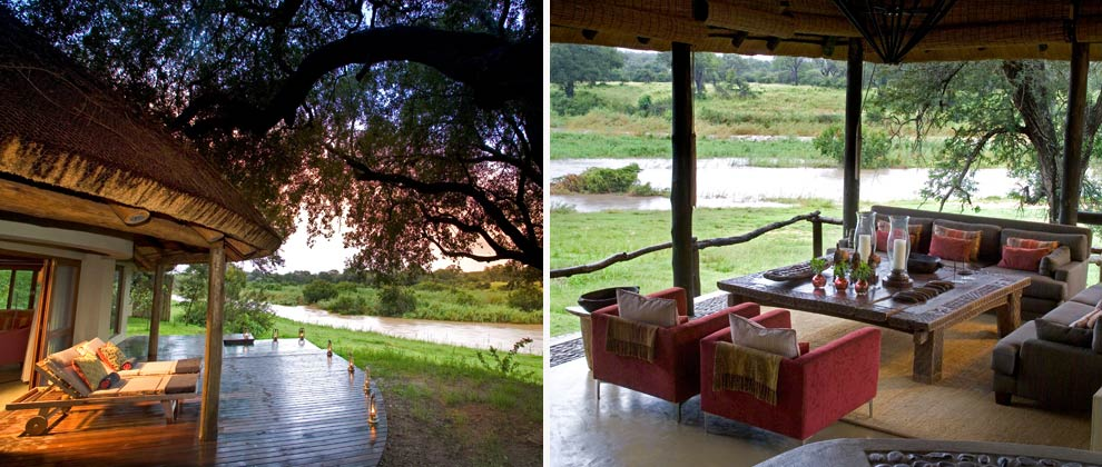 Outdoor lounge area overlooking the river at Exeter Lodge