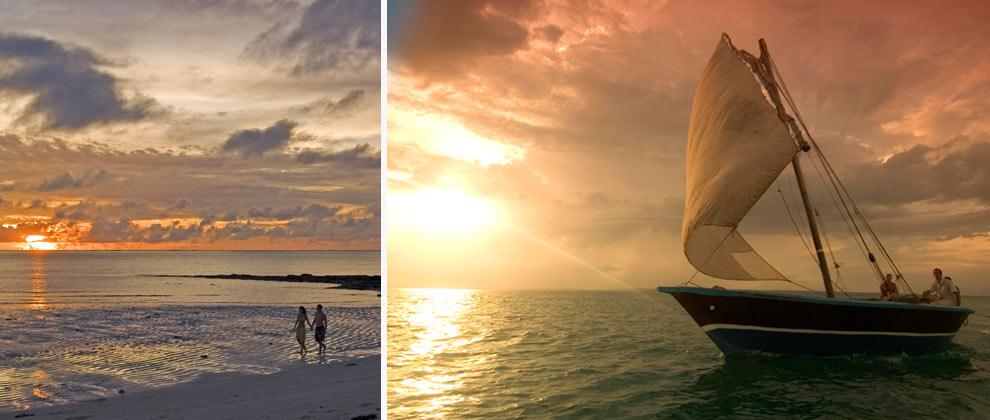Romantic beach walks and sunset cruises